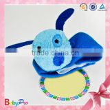 Customized Blue Color Dog Toy Baby Bell Baby Wrist Rattle Cloth Crochet Rattle