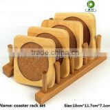 4pcs bamboo coaster set with holder