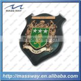 custom embossed 3D zinc alloy metal wooden badge plate shield plaque                                                                         Quality Choice