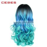 free samples of hair wig 17 years professional supplier rainbow colorful synthetic wig lace front