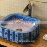 Handpainted ceramic art basin colorful countertop round sink porcelain flower edge bowl vanity top GD-F17
