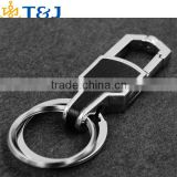ss>>2015 high quality alloy metal leather fashion men double rings car Key Chains/
