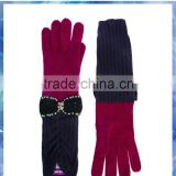 100% wool pink and purple long sleeve knitted gloves with glittery bowknot