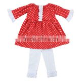 Little girls clothing Christmas costumes for kids boutique red dot and white ruffle baby girls outfits