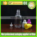 empty plastic dropper bottle with drip tips clear PET bottles