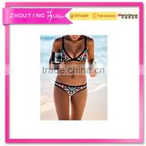 BSC011 Full sexy women triangle fission printing swimwear bikini