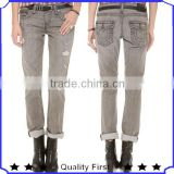 good quality shredded holes and hazy whiskering deconstruct jeans with 3 button fly