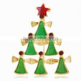 Wholesale online shop free shipping by express gold plated jewelry christmas tree picture brooch women