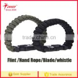 Factory Wholesale OEM Outdoor Survival Paracord Bracelet Hand Rope Strap with Emergency Fire Starter Blade and whister