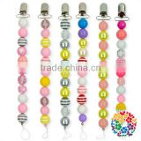 2017 Wholesale Silicone Beads Baby Pacifier Chain Clip