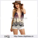 Multicolor Spaghetti Strap V Neck Backless Tank Top Summer Fashion Plunge Sleeveless New Printing Camisole blouse