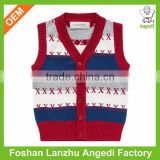 2016 custom baby boy's vest knitted jumper with placket fly baby cardigan