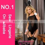 Newest High quality hot sales wholesale black nylonand spandex sexy bunny girl cosplay costume