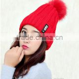 Logo design accept woman winter warm plush thicken winter beanie knit hat with fur poms