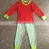 girls fancy stripes pajama sets red top and green stripe pants 100% cotton knitted pajama sets girls hot pajamas sexy