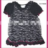 Wholsale new summer fashion style black cvc floral chiffon bonny mini kids girls fake two piece t shirt