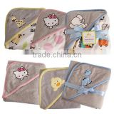 spring&summer double layer cartoon embroidered 100% cotton towel baby hooded bathrobe blanket