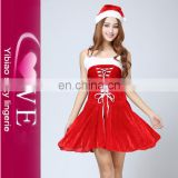 Red Dress Sexy Miss Santa Clause Costume with Santa Hat
