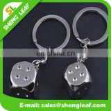 silver 3D dice design promotional products metal keychain