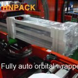 Fully Automatic Horizontal Ring Orbital Stretch Film Wrap Machine For Door Frame/Window/Aluminum/Profile/Timber/Pipe/Panel