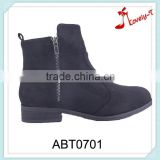 Applied security guard ankle boots latest lady horse riding double zipper low heel boots