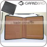 Wholesale High Quality Custom Zip A4 Size Genuine Saffiano Leather Office File Bag Document Folder Notebook