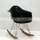 replica designer fiberlgass material stainless steel frame ARA armchair/rocking chair with wooden base