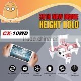 Minitudou 2016 New Dron Cheerson CX-10WD Altitude Pressure Hold Quad Copter Phone WiFi Control Photography Racer Drones