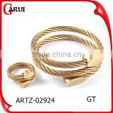wholesale fashion jewelry wire stainless steel bracelet & rings jewerly sets gold plated                                                                         Quality Choice