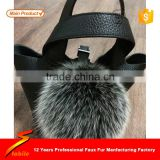STABILE Black Fur ball Handmade Keychain Raccoon Fox Sheepskin Fur ball