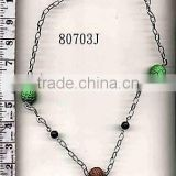 METAL CHAIN NECKLACE WITH PLASTIC BEADS METAL CHAINS NECKLACE WITH PLASTIC BEADS GYT-80703J