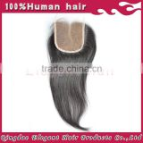Factory wholesale natural color straight Bleached Knots Malaysia Virgin Hair Lace Closure