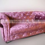 Luxury purple modern design beauty salon sofa waiting fabric sofa set furniture F-016