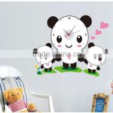 removable sticker clock for kids three panda