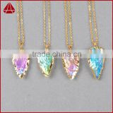 Natural arrowhead aura quartz crystal stone pendant