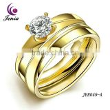 Jenia Trendy Yellow Gold Plated Jewellery Healthy Titanium Wedding Band Ring