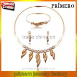 2016 Fashion Leaves Dubai Gold Plated Stainless Steel Collar Necklace Earrings Bracelet Jewelry Set