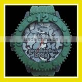 2016 Popular Products Bros Army Mr Shark Men Waterproof PVC Band Rubber Wrist Army Green Watch