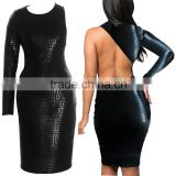 2016 wholesale cheap plus size sexy party snake black long sleeve faux leather bodycon bandage dress