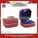 New mould red pu leather led light jewelry ring box with gold rim                                                                         Quality Choice