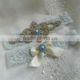 bridal rhinestone garter,lace garter with crystal applique,Light Blue Stretch Lace garter