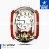 Plastic Case Wall Clock For Home Decor Clock With Tulip And Crystal Butterfly Ornaments Using 18 Music Sweep Quartz Movement