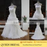 Real Sample Sleeveless Appliqued Hand-made Flower Ruffle Wedding Dress Sweetheart                                                                         Quality Choice