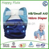 Happy Flute NB/S Pocket/AIO Diaper Charcoal Bamboo Inner Fit Baby 0-6 Months or 6-19lbs with a sewn inside insert