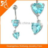 Sexy Internally Threaded Prong CZ Crystal Navel Belly Ring with blue dangle heart shape zircon