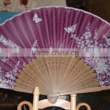 Chinese spun silk hand fan bamboo handle by your design
