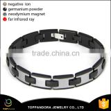 Mens Black Tungsten Magnetic Ceramic Bracelet with Energy Magnetic and CZ Bracelet Magnetic Tungsten Bracelet