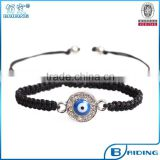 wholesale turkish crystal paved blue evil eye charm black woven bracelet jewelry 2015
