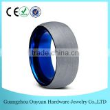 8MM New Dome Blue Tungsten Carbide Ring for Men Women, Brushed Two Tone Tungsten Carbide Ring