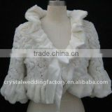 Beaded high collar long sleeve fake fur jacket/wedding bolero CWFaJ1657